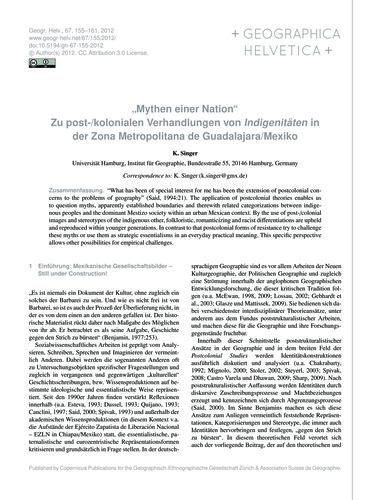 """""""Mythen Einer Nation"""" Zu Post-/Koloniale... by Singer, K."""