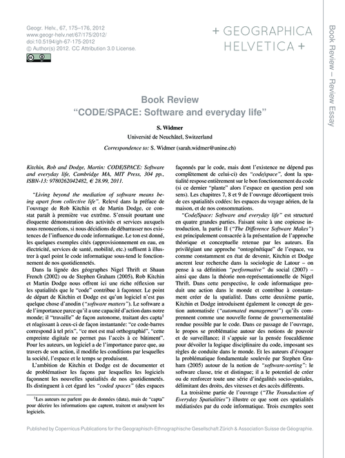 Book Review Code/Space: Software and Eve... by Widmer, S.
