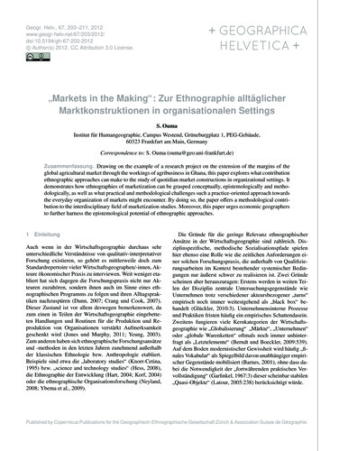"""markets in the Making"": Zur Ethnographi... by Ouma, S."