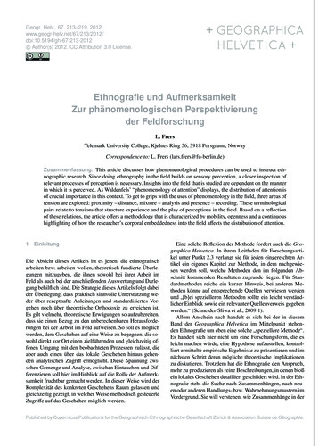 Ethnografie Und Aufmerksamkeit Zur Phäno... by Frers, L.