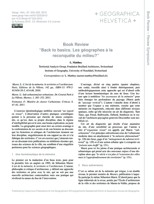 Book Review Back to Basics. Les Géograph... by Matthey, L.