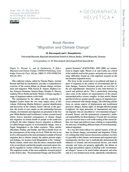 Book Review Migration and Climate Change... by Doevenspeck, M.