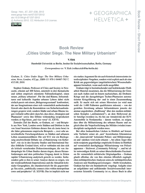 "Book Review ""cities Under Siege. the New... by Eick, V."