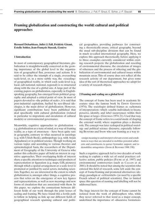Framing Globalization and Constructing t... by Debarbieux, B.