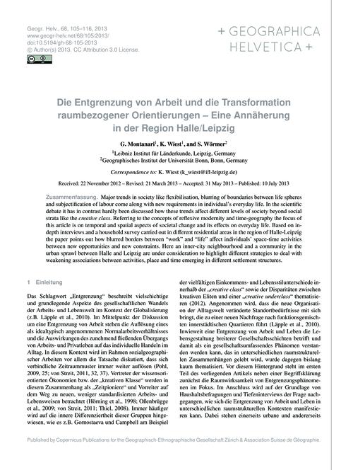 Die Entgrenzung Von Arbeit Und Die Trans... by Montanari, G.