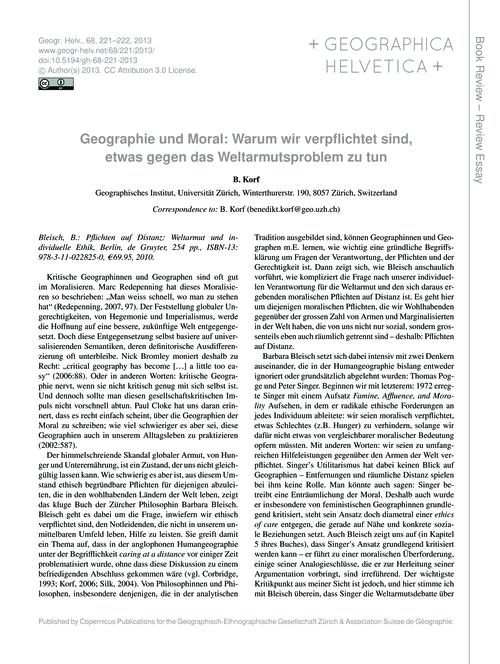 Geographie Und Moral: Warum Wir Verpflic... by Korf, B.