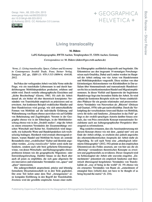 Living Translocality : Volume 68, Issue ... by Didero, M.