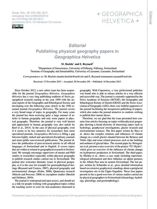 Editorial Publishing Physical Geography ... by Hoelzle, M.