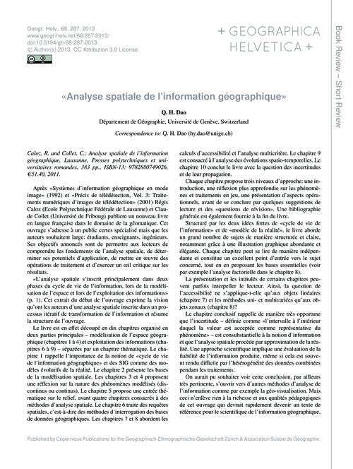 «analyse Spatiale De L'Information Géogr... by Dao, Q. H.