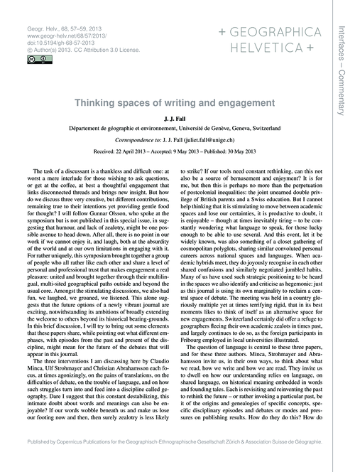 Thinking Spaces of Writing and Engagemen... by Fall, J. J.