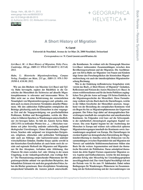 A Short History of Migration : Volume 68... by Carrel, N.