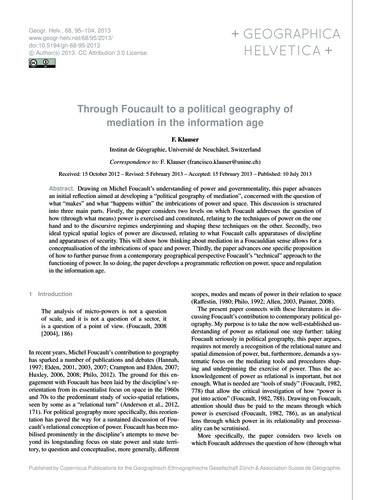 Through Foucault to a Political Geograph... by Klauser, F.