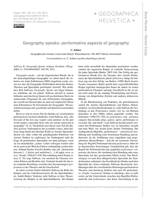 Geography Speaks: Performative Aspects o... by Schurr, C.