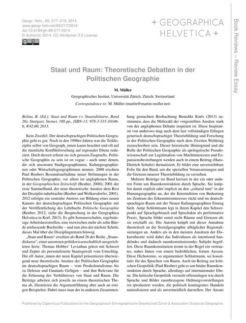 Staat Und Raum: Theoretische Debatten in... by Müller, M.