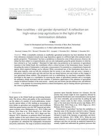 New Ruralities – Old Gender Dynamics? a ... by Bieri, S.
