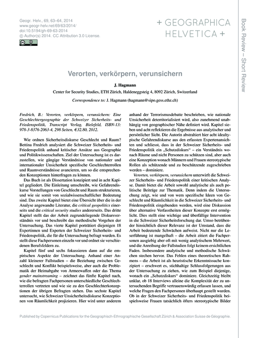 Verorten, Verkörpern, Verunsichern : Vol... by Hagmann, J.