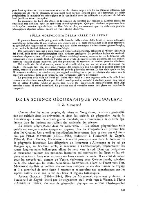 De La Science Géographique Yougoslave : ... by Milojević, B. Z.