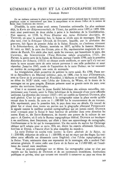 Kümmerly & Frey Et La Cartographie Suiss... by Burky, C.