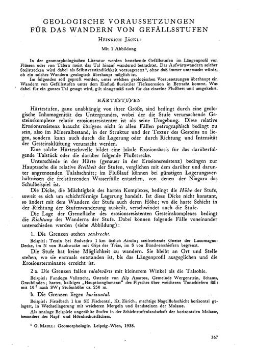 Geologische Voraussetzungen Für Das Wand... by Jäckli, H.