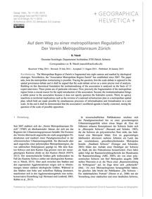 Auf Dem Weg Zu Einer Metropolitanen Regu... by Nüssli, R.