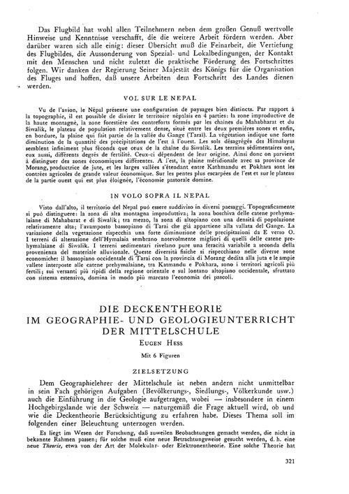 Die Deckentheorie Im Geographie- Und Geo... by Hess, E.