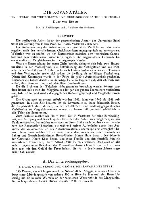 Die Rovanatäler : Ein Beitrag Zur Wirtsc... by Von Büren, K.