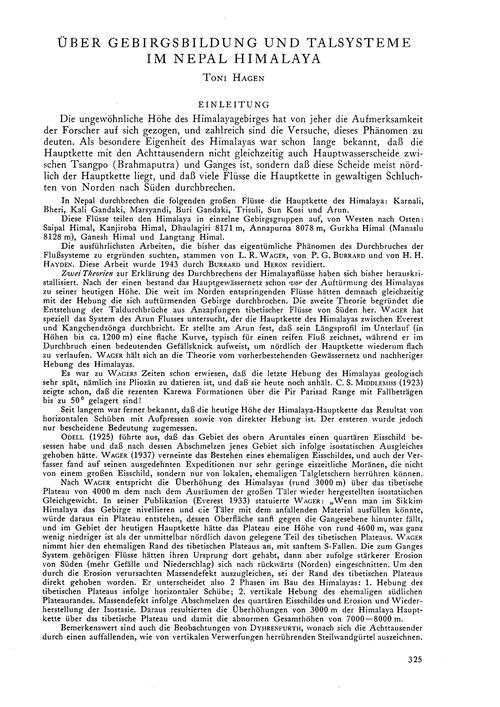 Über Gebirgsbildung Und Talsysteme Im Ne... by Hagen, T.