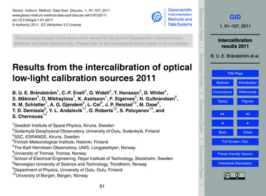 Results from the Intercalibration of Opt... by Brändström, B. U. E.