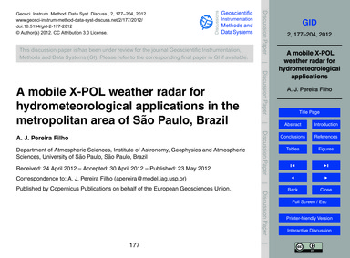 A Mobile X-pol Weather Radar for Hydrome... by Pereira Filho, A. J.