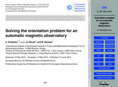 Solving the Orientation Problem for an A... by Khokhlov, A.