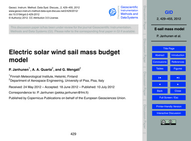 Electric Solar Wind Sail Mass Budget Mod... by Janhunen, P.