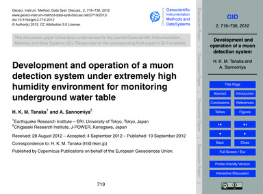 Development and Operation of a Muon Dete... by Tanaka, H. K. M.