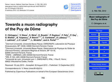 Towards a Muon Radiography of the Puy De... by Cârloganu, C.