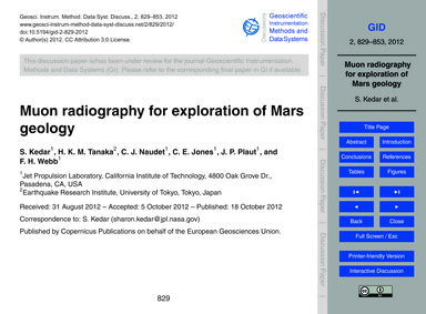 Muon Radiography for Exploration of Mars... by Kedar, S.