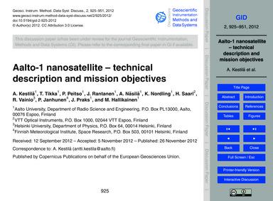 Aalto-1 Nanosatellite – Technical Descri... by Kestilä, A.