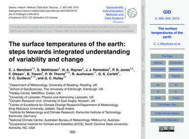 The Surface Temperatures of the Earth: S... by Merchant, C. J.