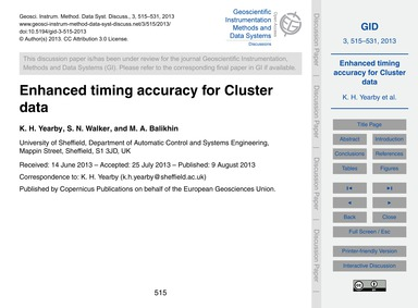 Enhanced Timing Accuracy for Cluster Dat... by Year, K. H.