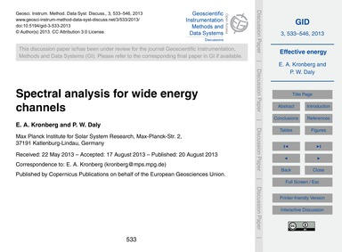 Spectral Analysis for Wide Energy Channe... by Kronberg, E. A.