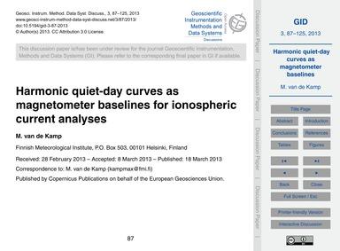 Harmonic Quiet-day Curves as Magnetomete... by Van De Kamp, M.
