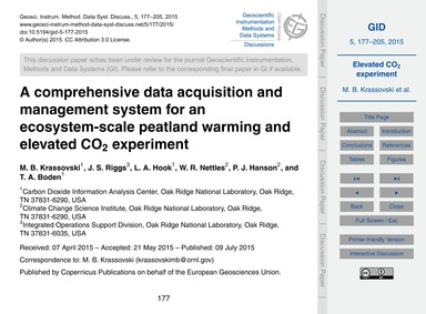 A Comprehensive Data Acquisition and Man... by Krassovski, M. B.