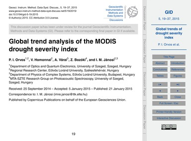 Global Trend Analysis of the Modis Droug... by Orvos, P. I.