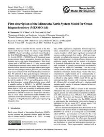 First Description of the Minnesota Earth... by Matsumoto, K.