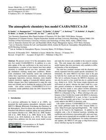 The Atmospheric Chemistry Box Model Caab... by Sander, R.