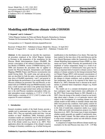 Modelling Mid-pliocene Climate with Cosm... by Stepanek, C.