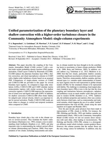 Unified Parameterization of the Planetar... by Bogenschutz, P. A.