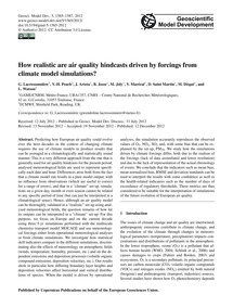 How Realistic Are Air Quality Hindcasts ... by Lacressonnière, G.