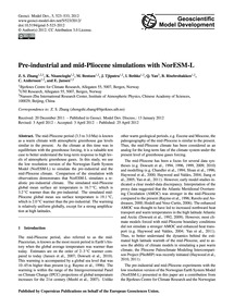 Pre-industrial and Mid-pliocene Simulati... by Zhang, Z. S.