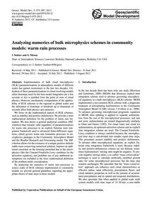 Analyzing Numerics of Bulk Microphysics ... by Sednev, I.