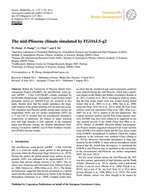 The Mid-pliocene Climate Simulated by Fg... by Zheng, W.