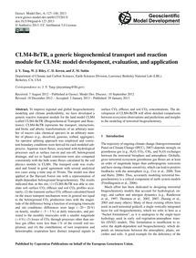 Clm4-betr, a Generic Biogeochemical Tran... by Tang, J. Y.